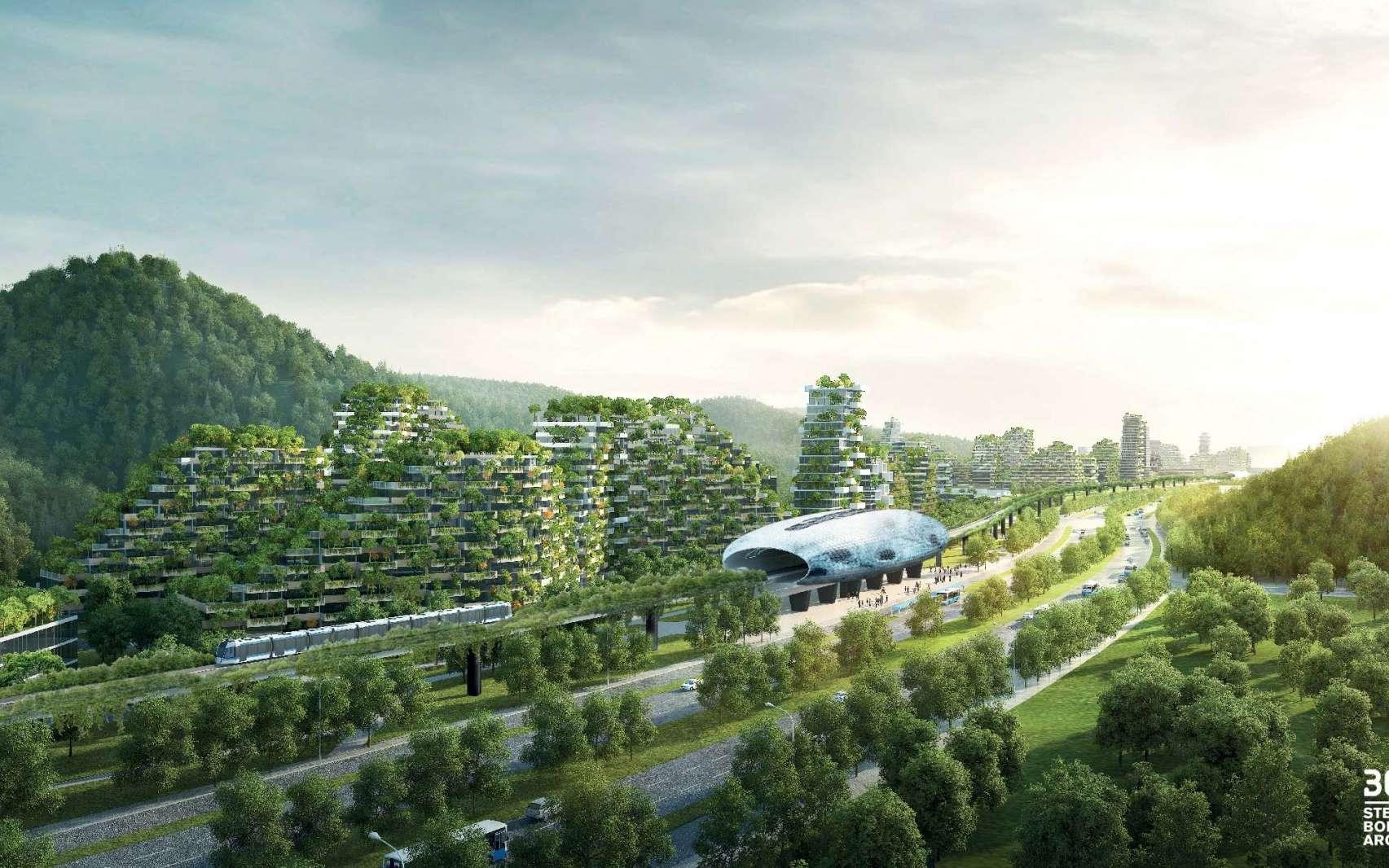 Vue d'ensemble de la ville-forêt de Liuzhou, dont le chantier vient de commencer au sud de la Chine. © Stefano Boeri Architetti