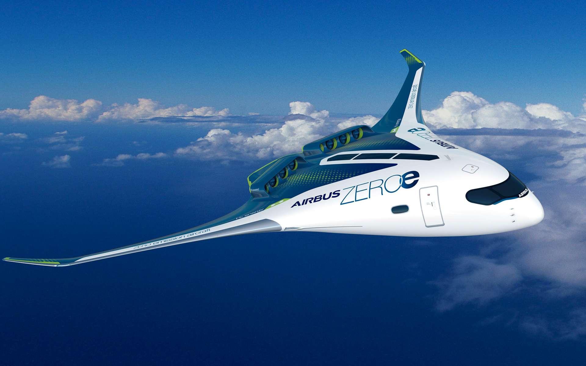 Concept d'aile volante à l'étude (Blended Wing Body, BWB) propulsé par des moteurs fonctionnant à l'hydrogène. © Airbus
