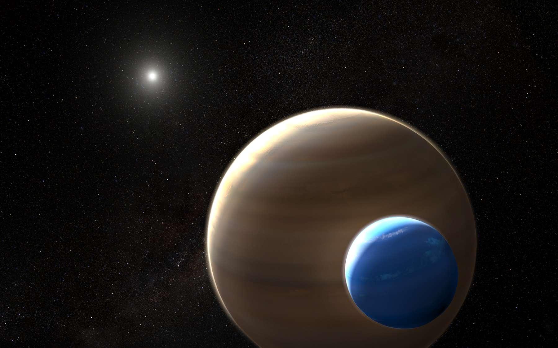 Vue d'artiste de l'exoplanète Kepler-1625b, une super-Jupiter, accompagnée d'une potentielle exolune gazeuse similaire à Neptune appelée Kepler-1625b-i. © Nasa/ESA/L. Hustak