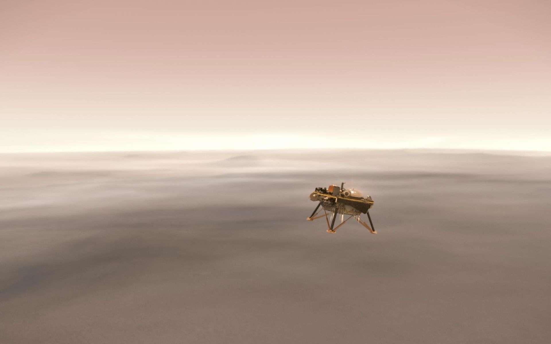Le choix du site d'atterrissage du rover est toujours un casse-tête pour les scientifiques. En image, la descente du robot InSight. © Nasa, JPL