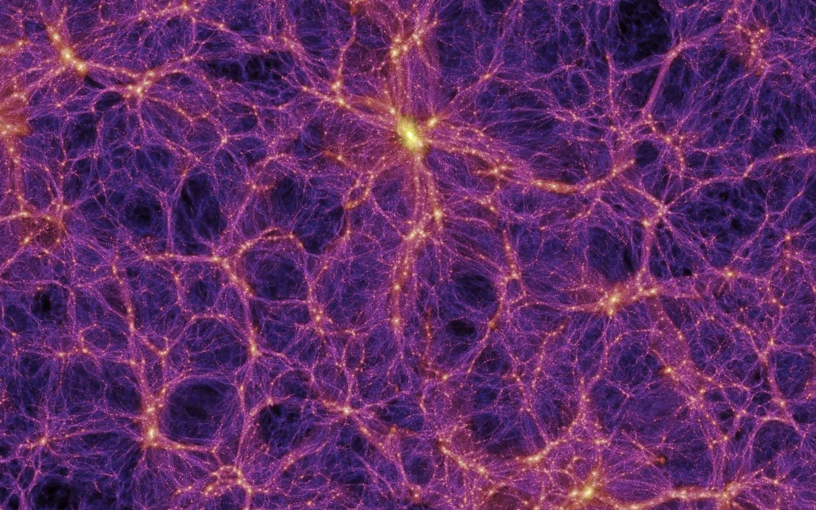 Sur cette image provenant d'une des meilleures simulations de la formation des grandes structures de l'Univers, des filaments de matière noire contenant des superamas de galaxies apparaissent clairement. On note aussi la présence de grands vides que l'on appelle parfois des vides cosmiques (cosmic voids, en anglais) © Max Planck Institute for Astrophysics, Millennium Simulation Project