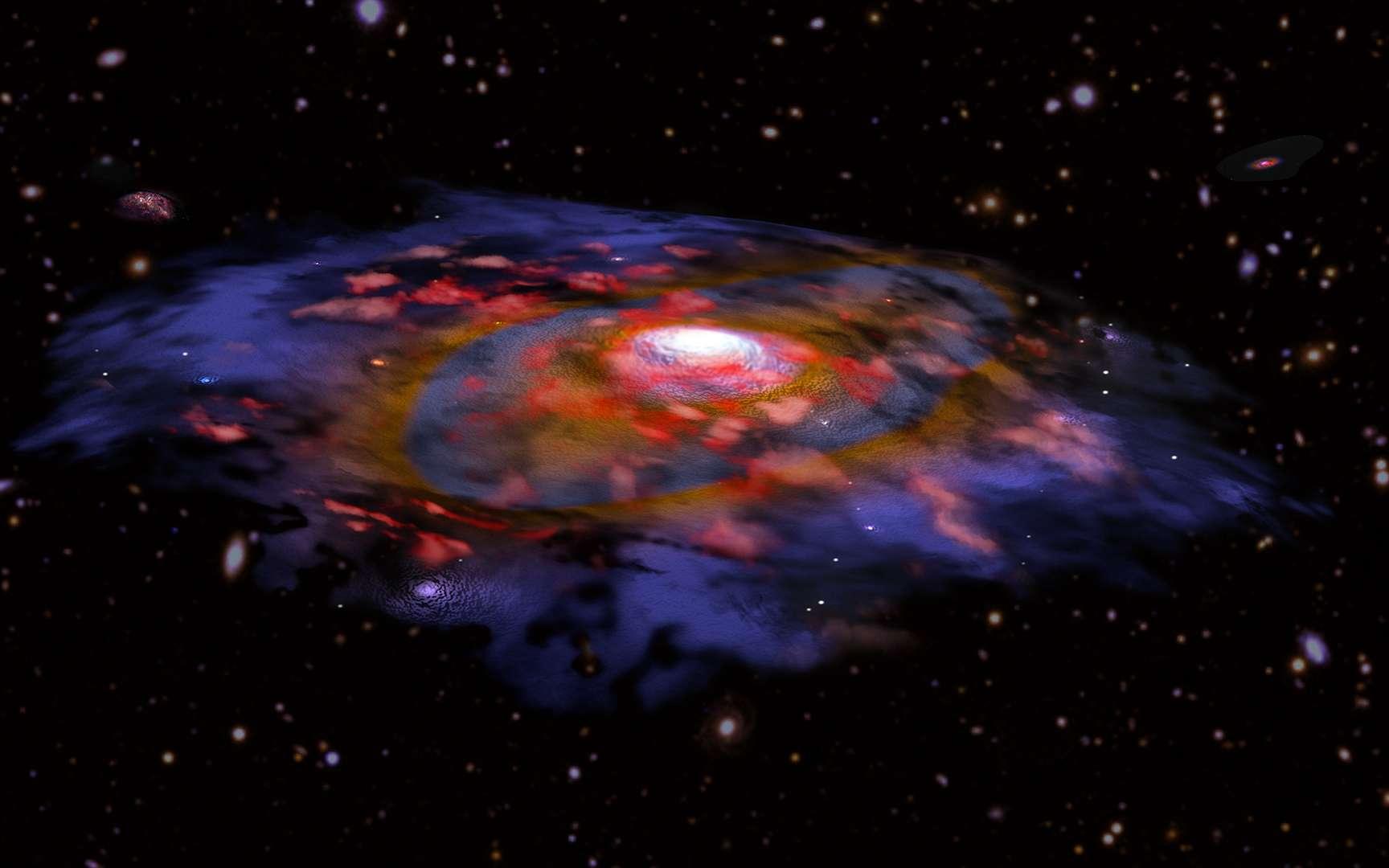Vue d'artiste d'une galaxie distante, riche en poussières et en rotation. La couleur rouge représente le gaz, le bleu et le brun la poussière telle qu'observée en ondes radio avec Alma. De nombreuses autres galaxies sont visibles en arrière-plan, d'après les données optiques du VLT et de Subaru. © CNRS, B. Saxton NRAO/AUI/NSF, ESO, NASA/STScI; NAOJ/Subaru