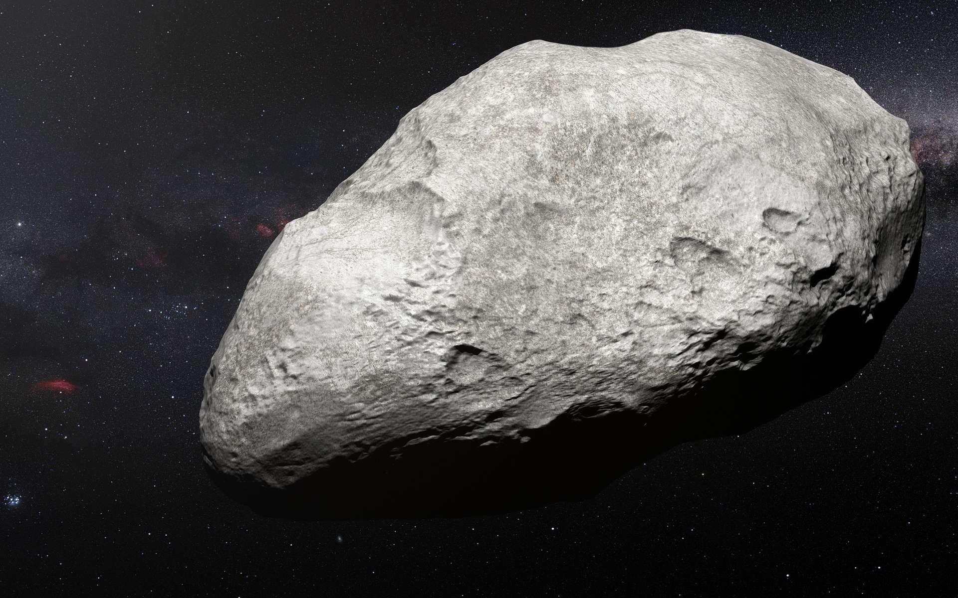 Sur cette vue d'artiste figure l'astéroïde en exil 2004 EW95, le tout premier astéroïde riche en carbone dont l'existence au sein de la ceinture de Kuiper a été confirmée et qui constitue un vestige du Système solaire primordial. Cet étrange objet s'est probablement formé dans la ceinture d'astéroïdes située entre Mars et Jupiter puis s'est déplacé sur des milliards de kilomètres jusqu'à atteindre son lieu de résidence actuel, la ceinture de Kuiper. © ESO/M. Kornmesser