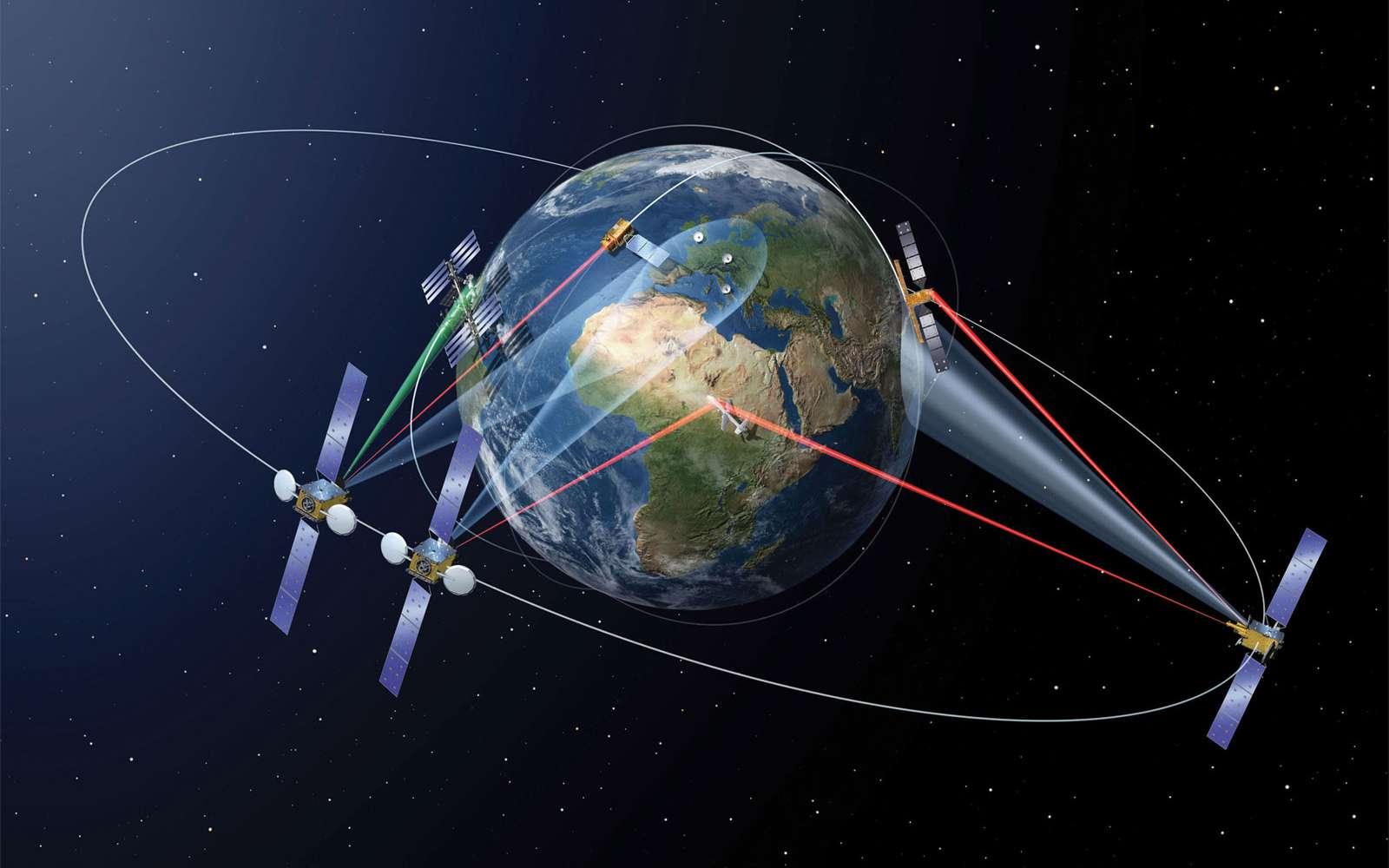 Dans l'espace, il sera bientôt possible de connecter des satellites éloignés de plusieurs milliers de kilomètres pour relayer de très grandes quantités de données à un débit élevé. © Airbus Defence & Space