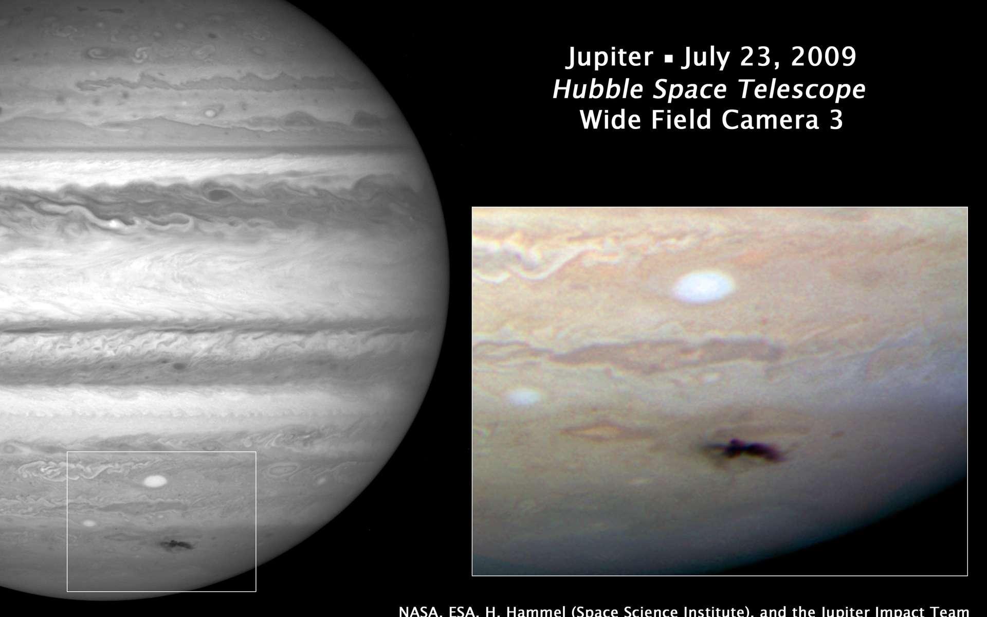 Photographie prise le 23 juillet par WFC-3, caméra à grand champ du télescope spatial Hubble. Elle montre la dispersion des débris de l'astéroïde ou de la comète qui a percuté, quatre jours plus tôt, la haute atmosphère de Jupiter. © Nasa, Esa, H. Hammel (Space Science Institute), Boulder, Colorado), Jupiter Impact Team