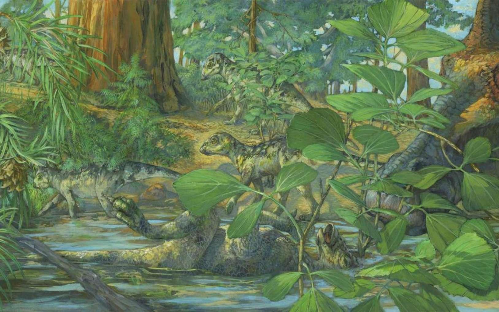 Reconstruction du site de nidification d'Hypacrosaurus stebingeri de la formation Two Medicine du Montana. Au centre, on peut voir un Hypacrosaurus décédé avec l'arrière de son crâne noyé dans des eaux peu profondes. Un adulte en deuil est représenté à droite. Art de Michael Rothman. © Science China Press