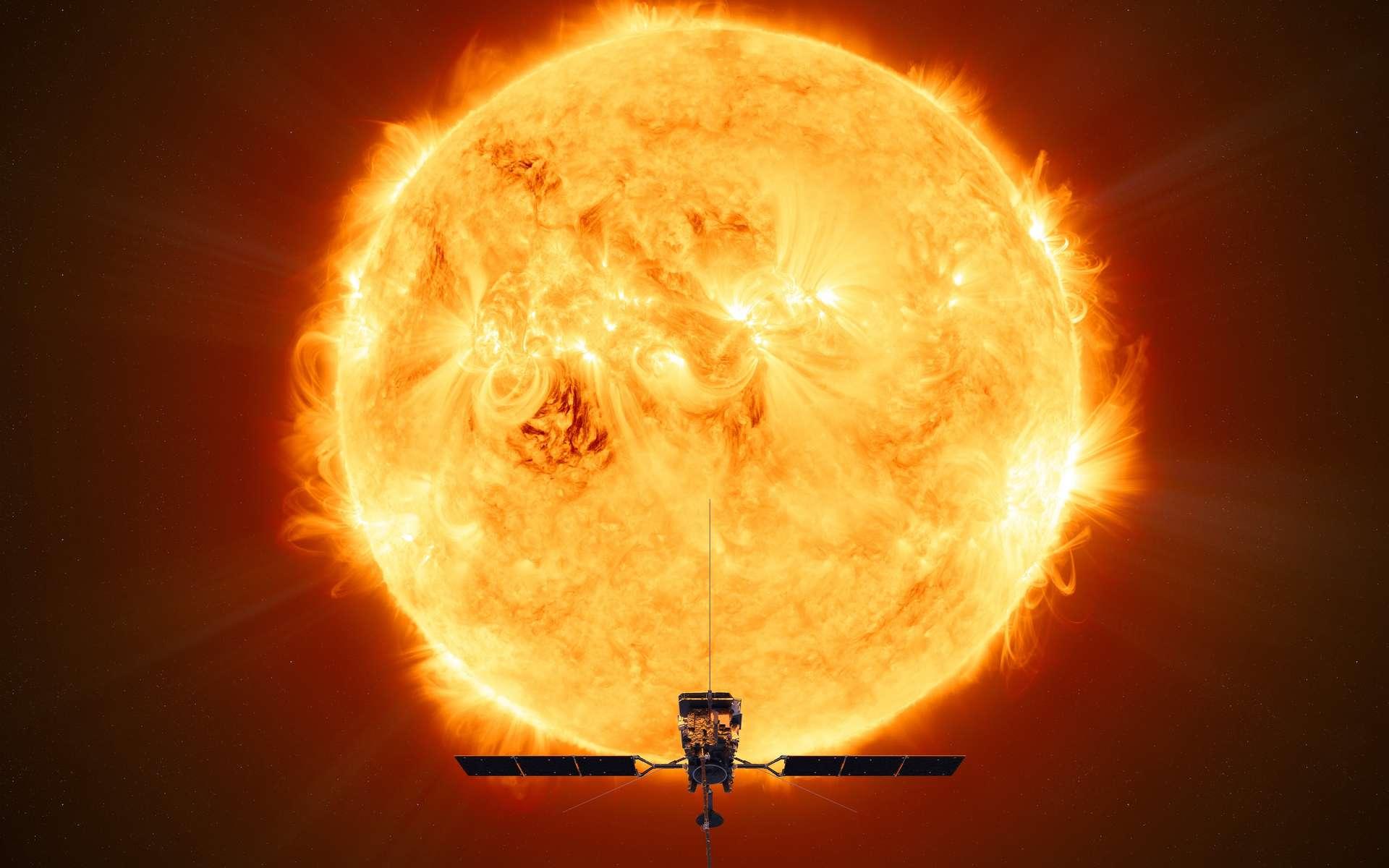 Illustration de la sonde Solar Orbiter (ESA) devant le Soleil. © ESA, ATG medialab