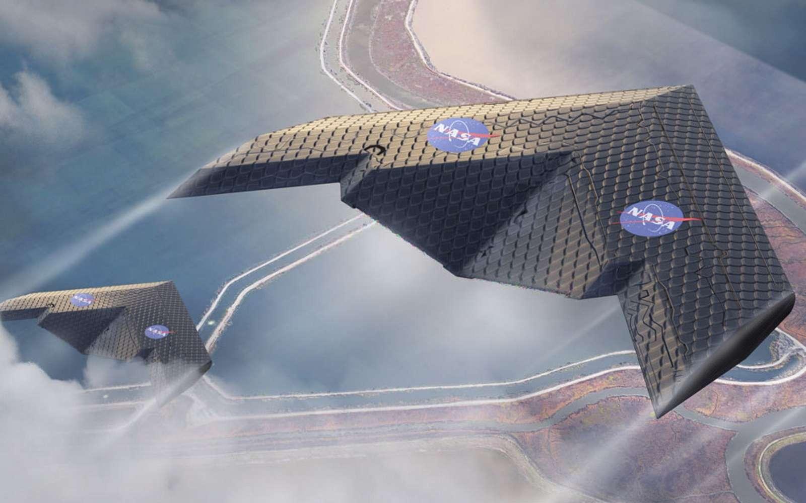 L'aile est totalement dénuée de gouvernes. Une aile volante dénuée d'ailerons qui se déforme automatiquement selon les phases du vol, c'est le projet mis au point par des chercheurs du MIT en partenariat avec la Nasa. © MIT