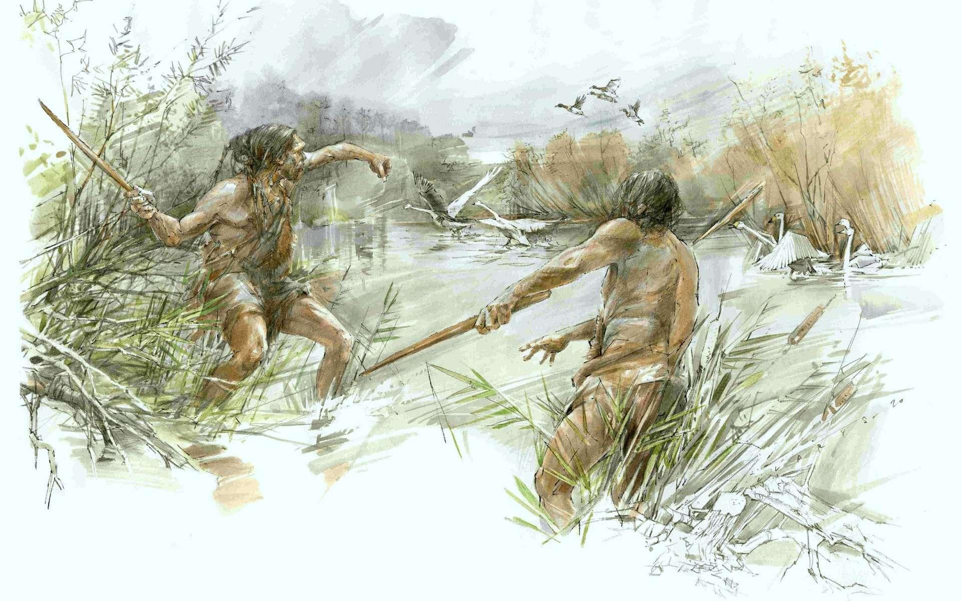 Illustration d'Homo heidelbergensis chassant des oiseaux. © Benoit Clarys