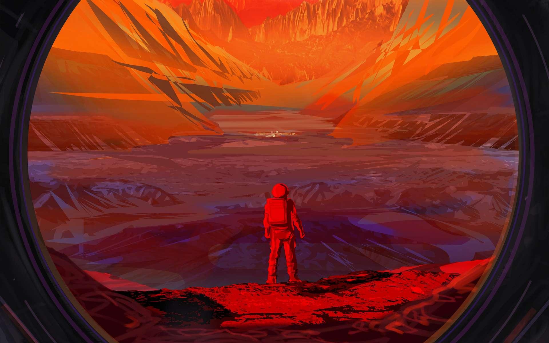 Cette illustration montre un astronaute sur Mars vu à travers la fenêtre d'un vaisseau spatial. © NASA, JPL-Caltech