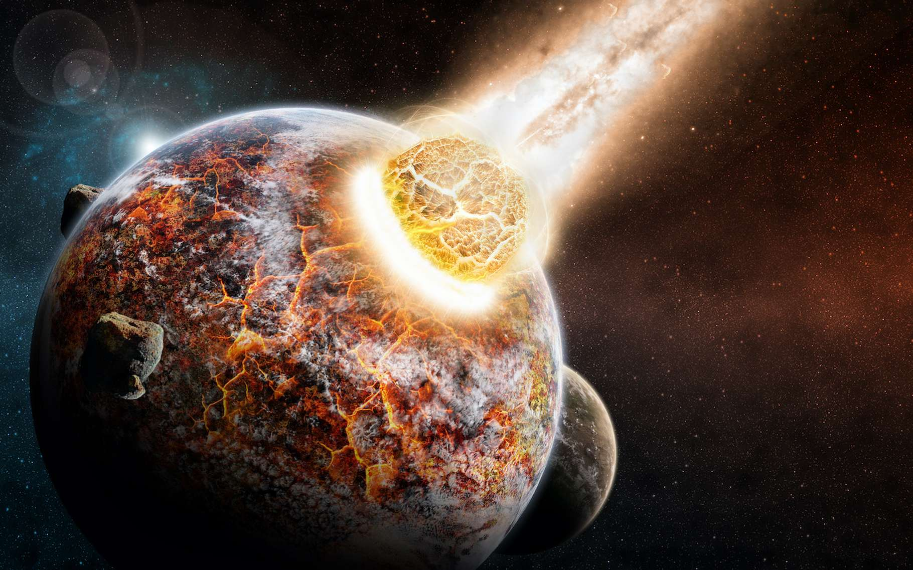 Des chercheurs de l'université de l'Arizona (États-Unis) proposent un nouveau scénario de formation des planètes internes au Système solaire qui explique les différences entre notre Terre et Vénus, et les similitudes entre notre Planète et la Lune. © sdecoret, Adobe Stock