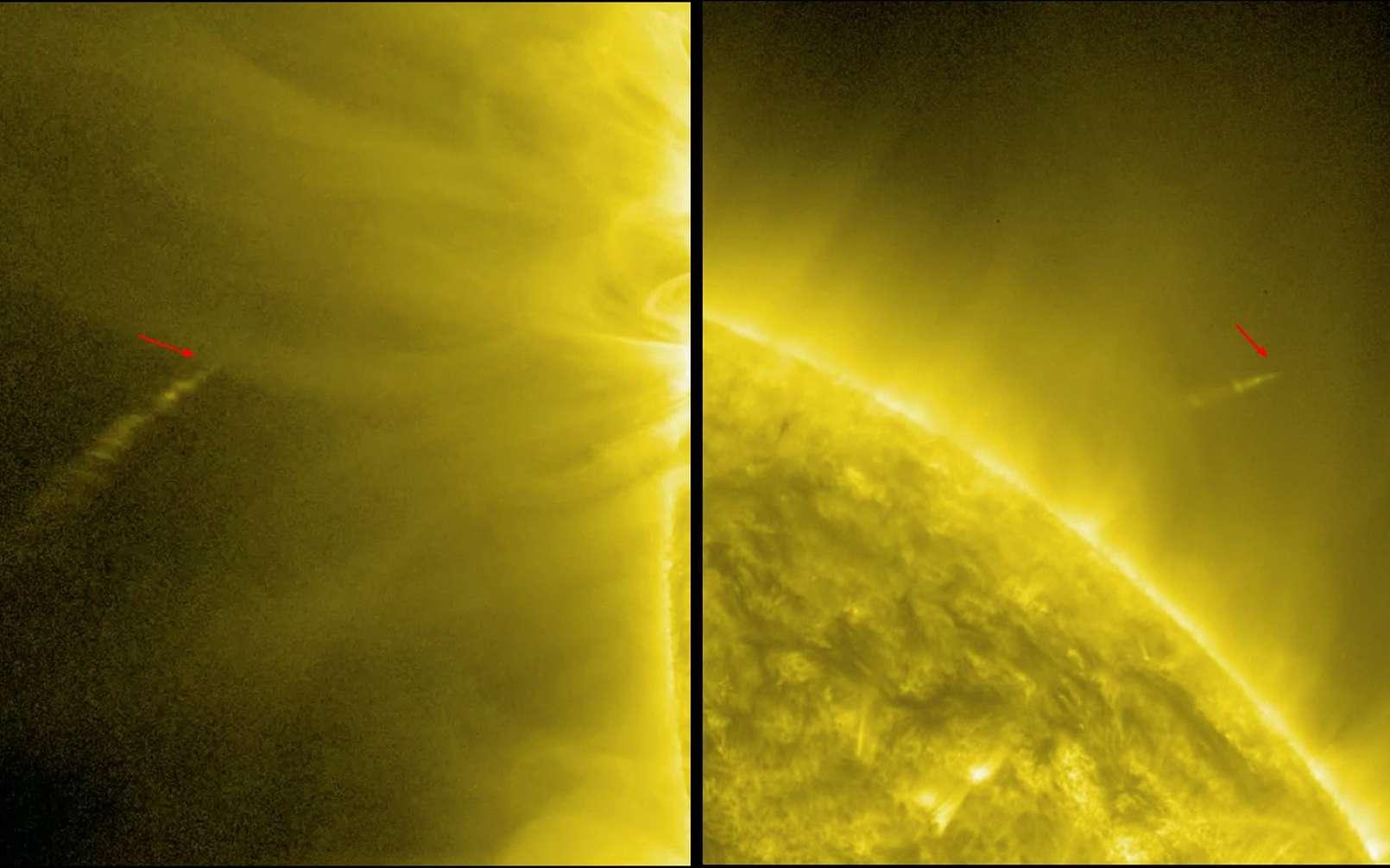 De gauche à droite sur les images de SDO obtenues cette nuit, on voit la comète Lovejoy foncer vers le Soleil puis échapper au piège sans qu'on sache encore combien lui a coûté ce survol. © Nasa/SDO