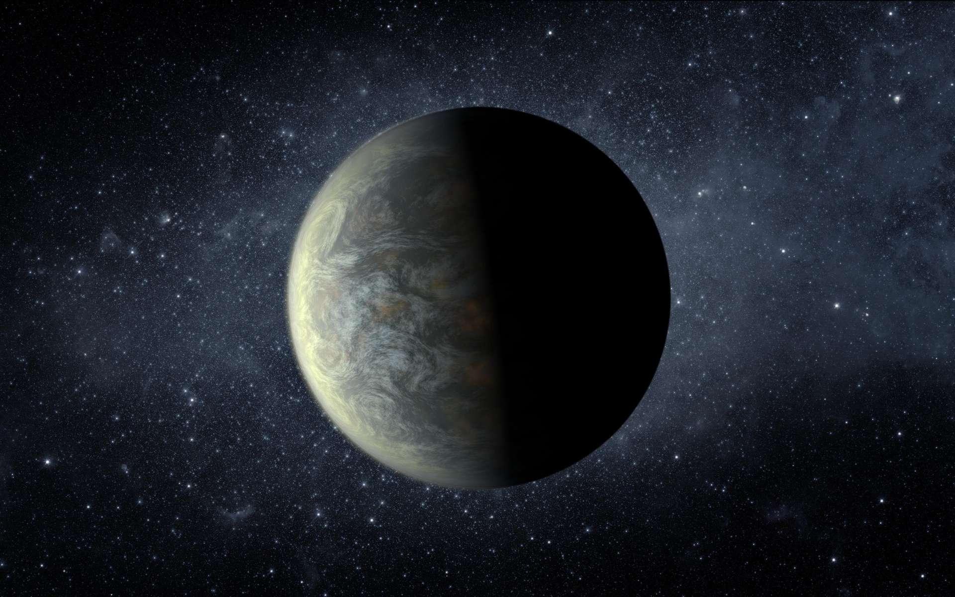 Si les extraterrestres ne nous rendent pas visite, c'est peut-être qu'ils sont coincés sur leur planète par une gravité trop forte. Ce serait le cas sur la superterre Kepler-20 b, dont cette vue d'artiste montre le système planétaire. © Nasa, Ames, JPL-Caltech