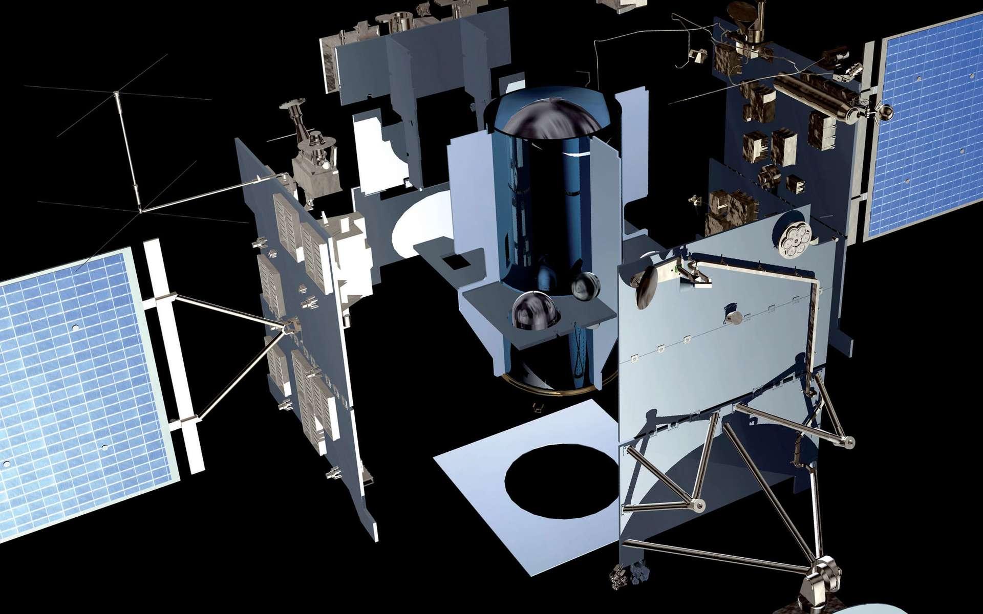 Éclaté de la sonde Rosetta. Les senseurs stellaires sont les deux cônes qui pointent vers les étoiles, tout en haut de l'éclaté. La centrale inertielle et les roues de réaction n'apparaissent pas à l'image. © Esa