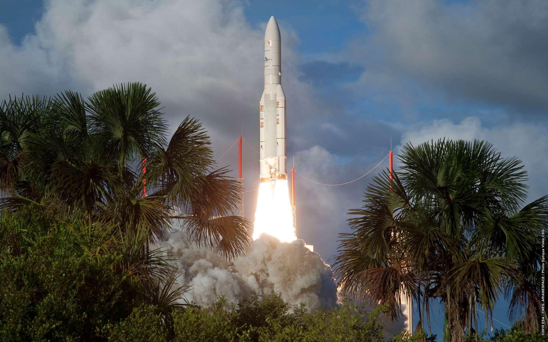 Lancement réussi à Kourou pour la fusée Ariane 5. © ESA, CNES, Arianespace, CSG