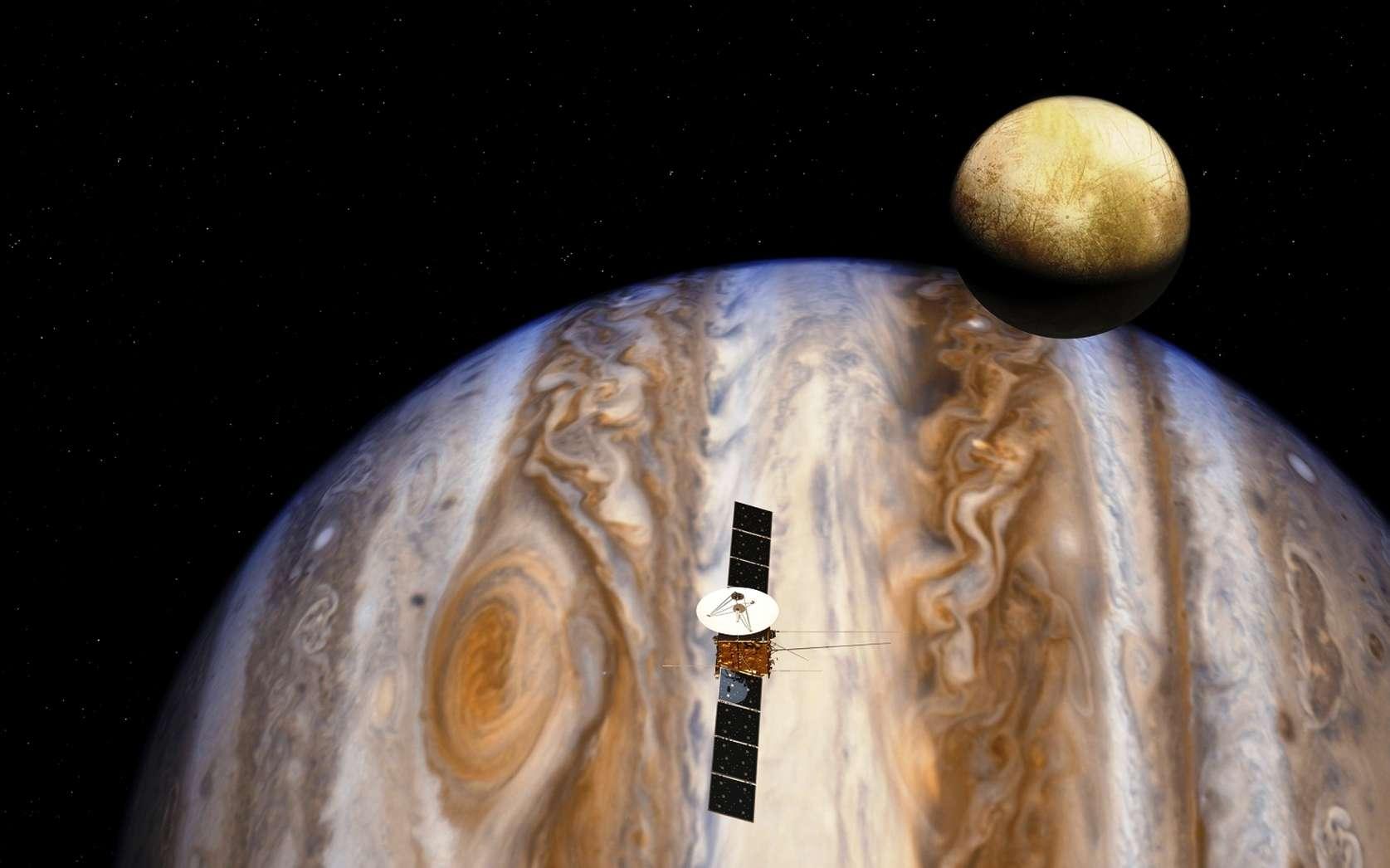 Une vue d'artiste de la sonde Juice qui rejoindra Jupiter et ses satellites. © ESA, AOES