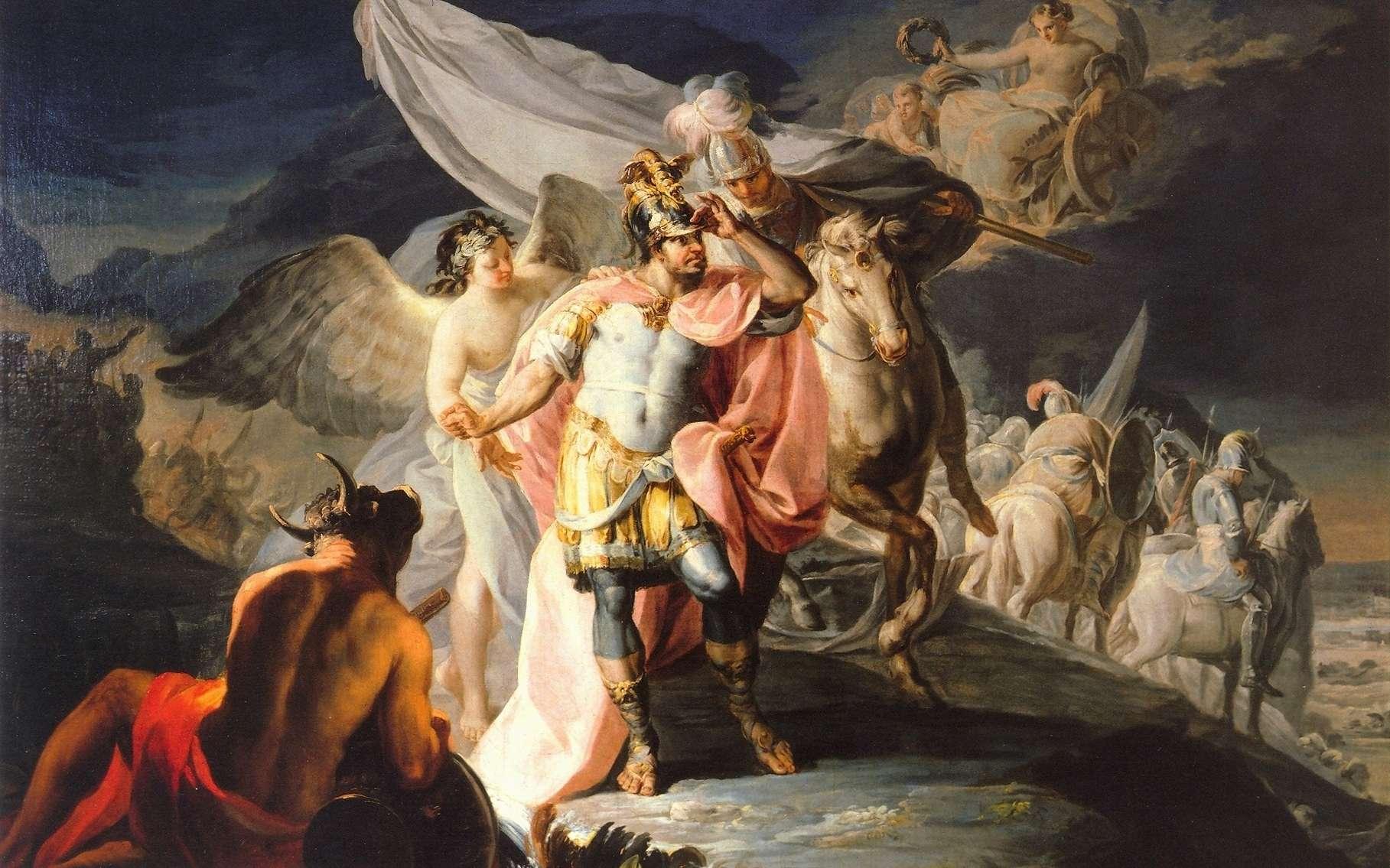 Hannibal vainqueur contemple pour la première fois l'Italie depuis les Alpes, un tableau peint par Francisco de Goya en 1771. Cette épopée d'une armée carthaginoise en guerre contre Rome est devenue mythique. © DP