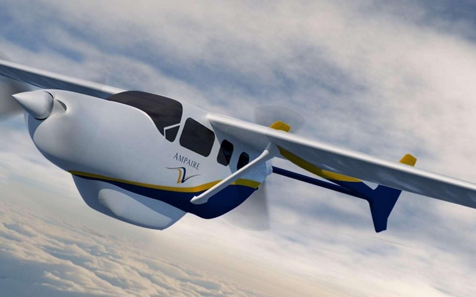 Hybride, l'Ampaire 337 est doté à la fois d'un moteur thermique et un autre électrique. Il repose sur une configuration de type « pull-push » et une cellule de Cessna 337 Skymaster. © Ampaire