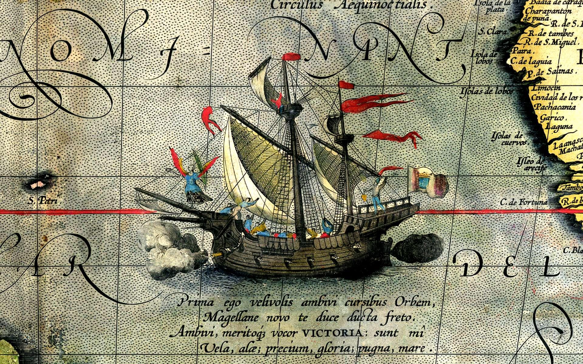 Expédition de Magellan : un dessin de la Victoria datant de 1590. © Ortelius, Wikimedia Commons, Domaine public