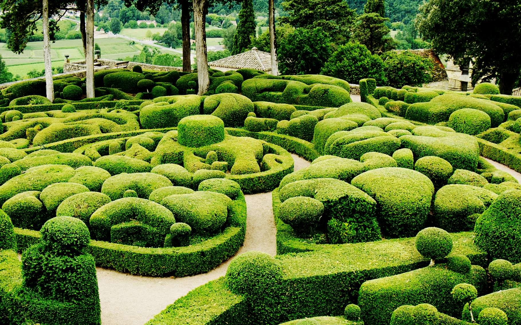 Sur les bords de la Dordogne, en plein Périgord, les jardins et le parc de Marqueyssac offrent l'occasion de belles promenades estivales. © DR
