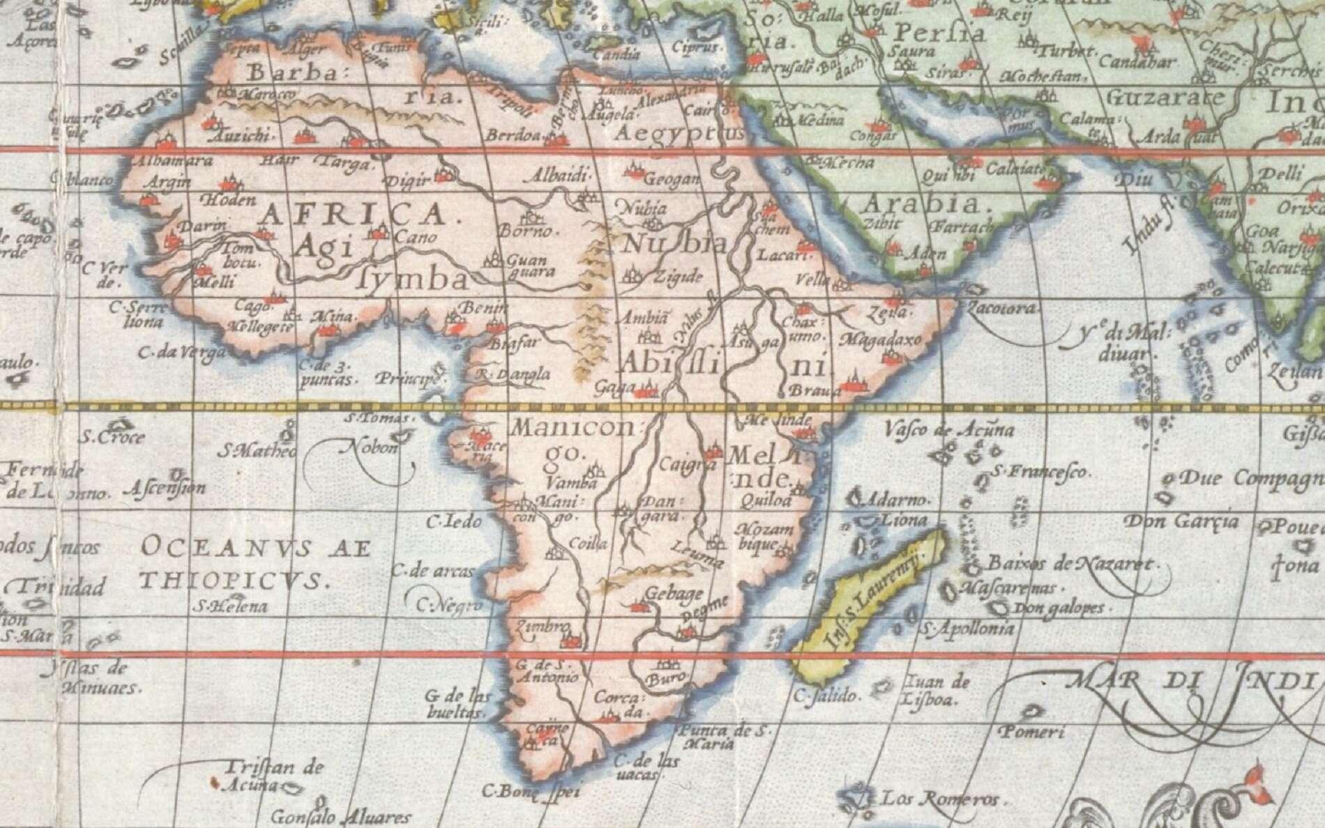 Agrandissement sur l'Afrique à partir de la mappemonde d'Abraham Ortelius, réalisée en 1570, extraite du « Theatrum Orbis Terrarum ». The Minnich Collection the Ethel Morrison Van Derlip Fund, 1966. © Domaine public