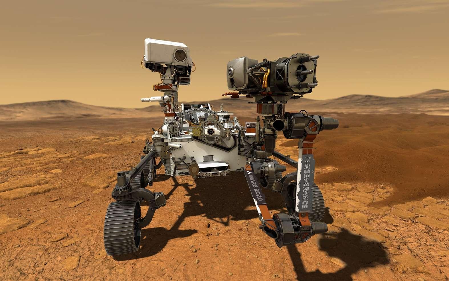 Illustration du rover Perseverance en mission sur Mars. © JPL-Caltech, Nasa