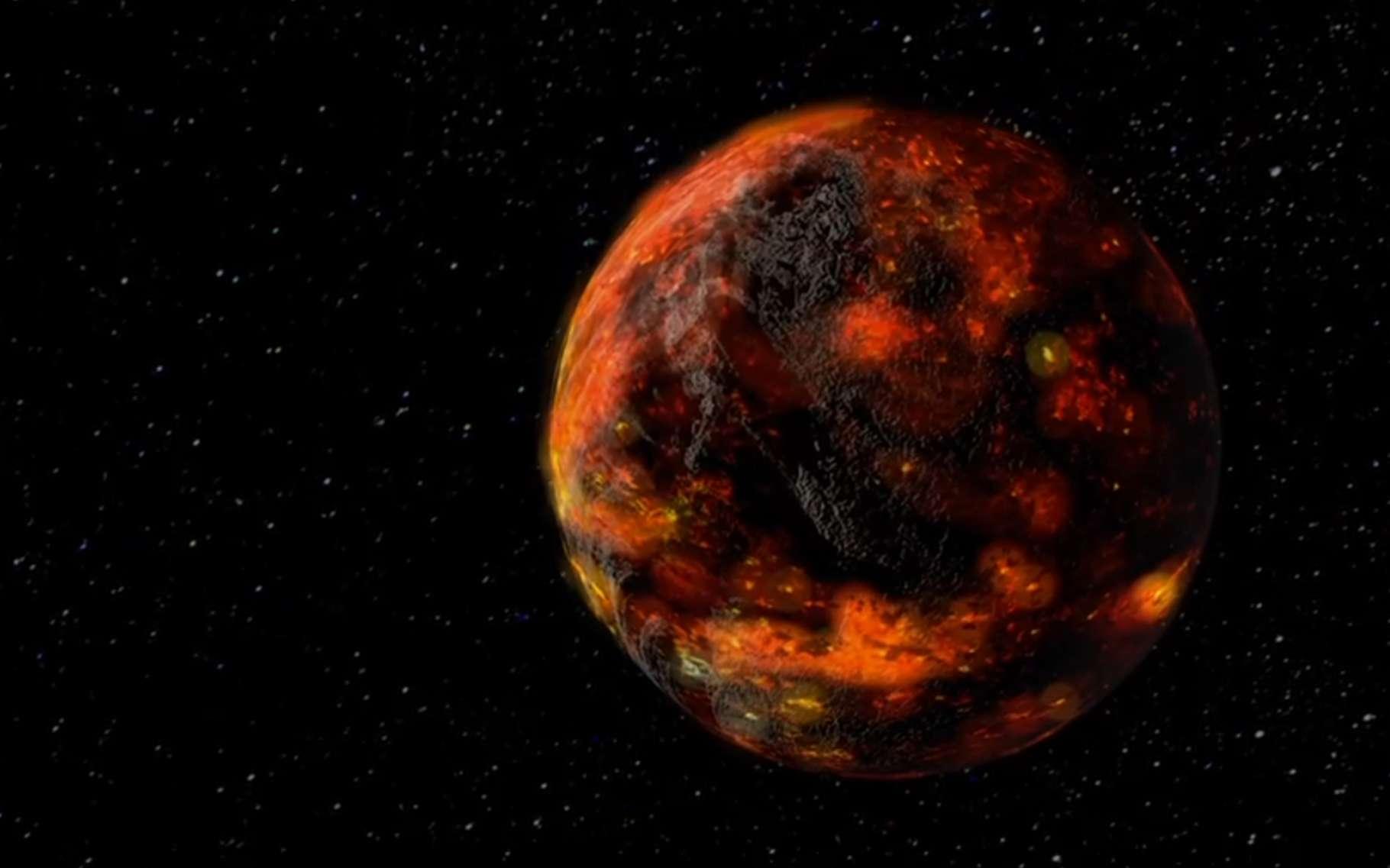 Au moment de sa formation, la Lune a été recouverte d'un océan de magma. Très vite, celui-ci a commencé à se solidifier, formant une croûte de surface. En dessous, le magma a mis près de 200 millions d'années à se solidifier totalement. Une observation qui a permis aux astronomes du Centre allemand pour l'aéronautique et l'astronautique (DLR) de déterminer l'âge de la Lune : environ 4,425 milliards d'années. © Goddard Space Flight Center, Nasa