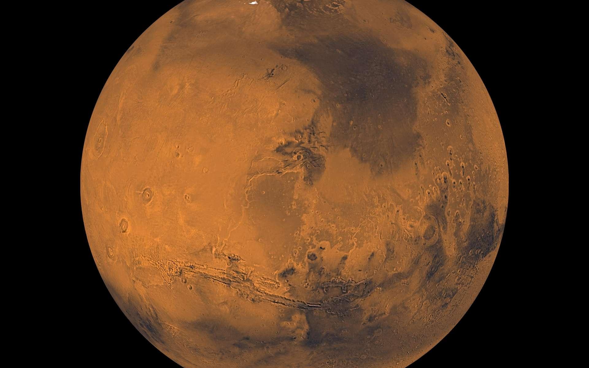 Le planète Mars. Cette image est une mosaïque d'environ 1.000 images acquises par l'orbiter Viking qui montre des détails de trois kilomètres (1 km/pixel). © Nasa, JPCaltech, USGC