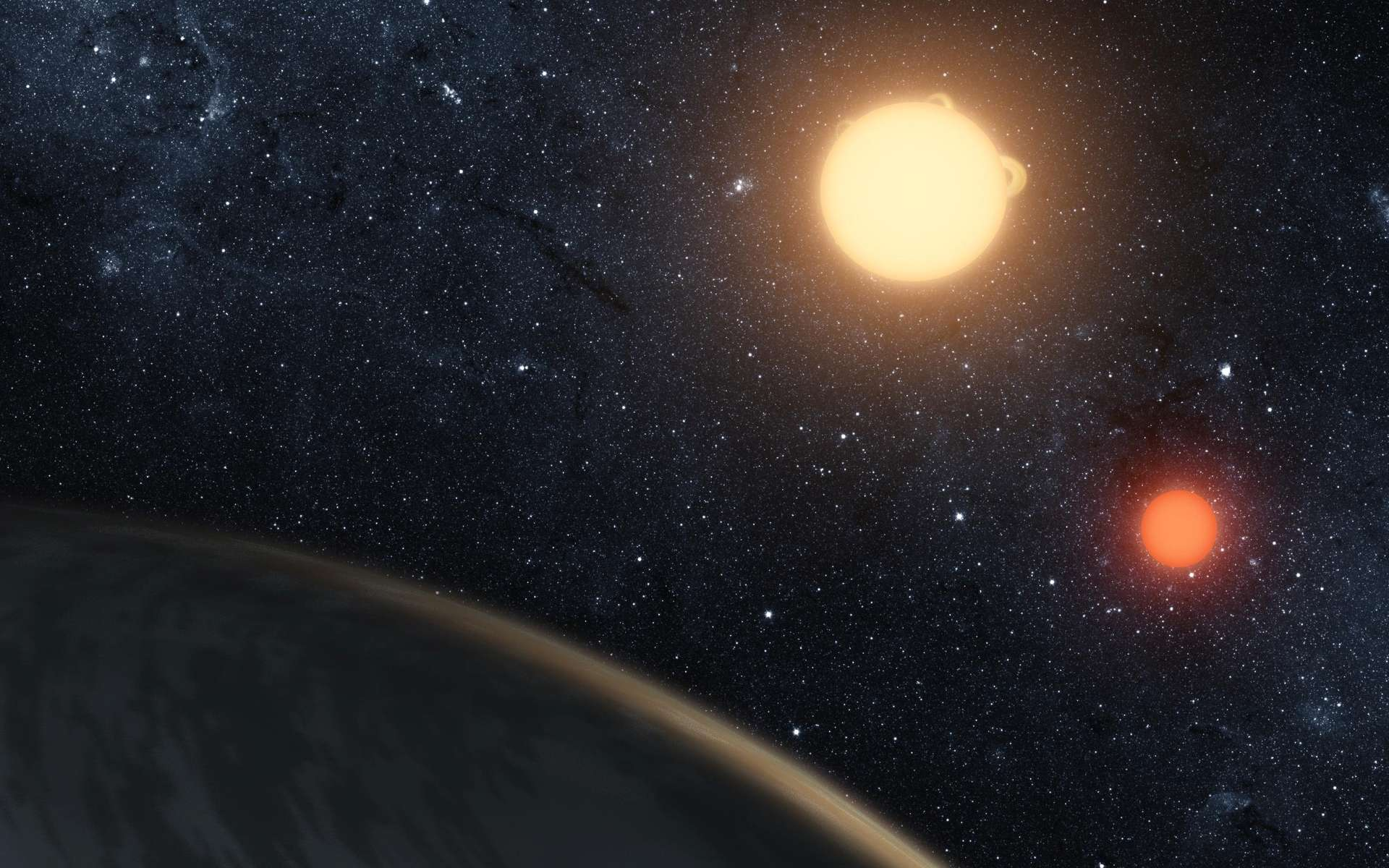 Illustration du système Kepler-16b. © Nasa, JPL-Caltech, T. Pyle