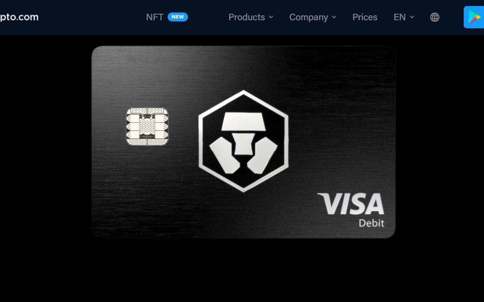 Crypto.com propose une carte de crédit sur un compte alimenté en cryptomonnaies – mais soutenue par l'établissement Visa. © Crypto.com