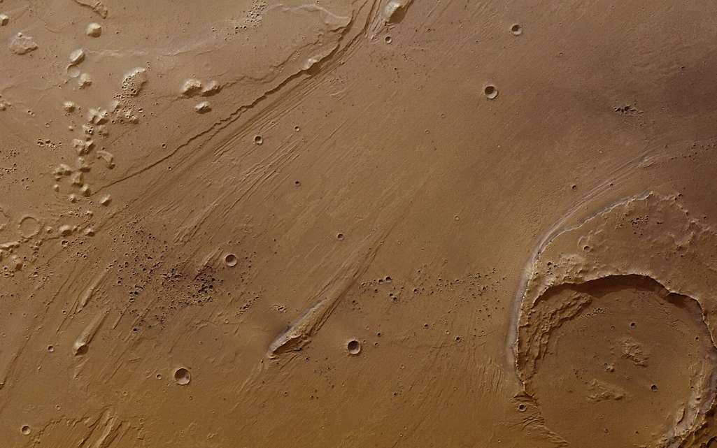 La vallée d'Arès, sur Mars, non loin du site où s'est posé Pathfinder. Ici, une inondation catastrophique a laissé des traces encore visibles 3,4 milliards d'années après. © ESA, DLR, FU Berlin (G. Neukum), CC by-sa 3.0 IGO