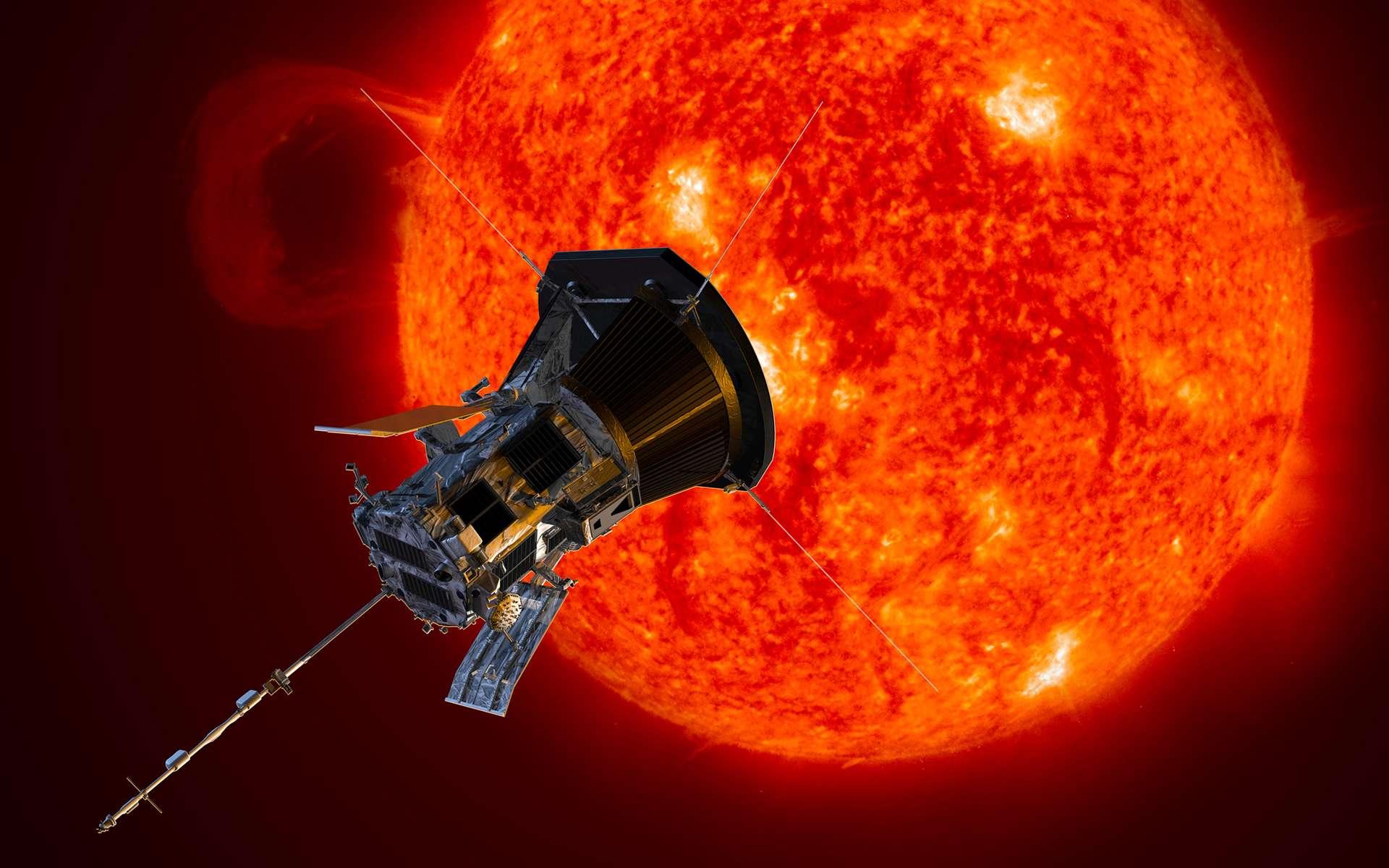 Le Soleil recèle encore bien des mystères et mérite que l'on aille le regarder de plus près. Ce dessin représente la sonde Parker Solar Probe en train de l'étudier. © Nasa, Johns Hopkins APL, Steve Gribben