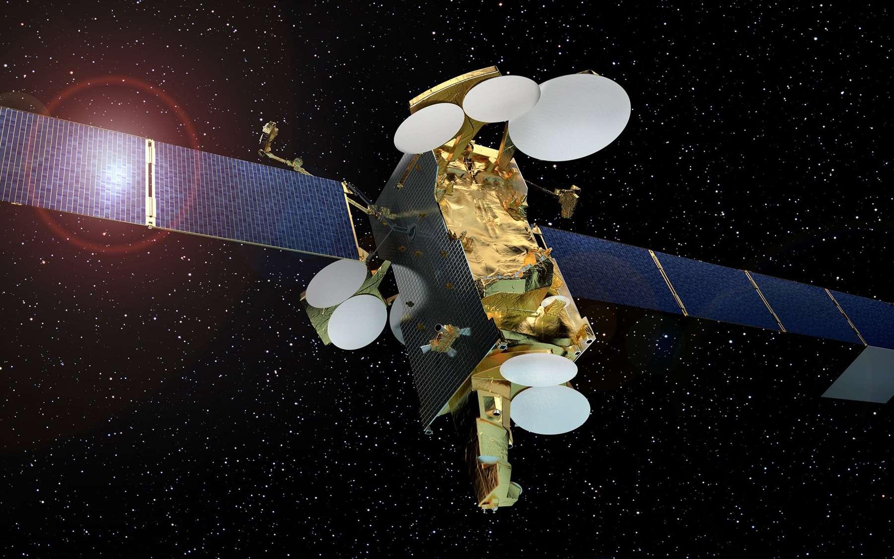 Vue d'artiste de SES 12. Construit par Airbus Defence and Space, ce satellite de télécommunications tout électrique est le plus lourd et le plus puissant du monde à ce jour. © Airbus Defence and Space