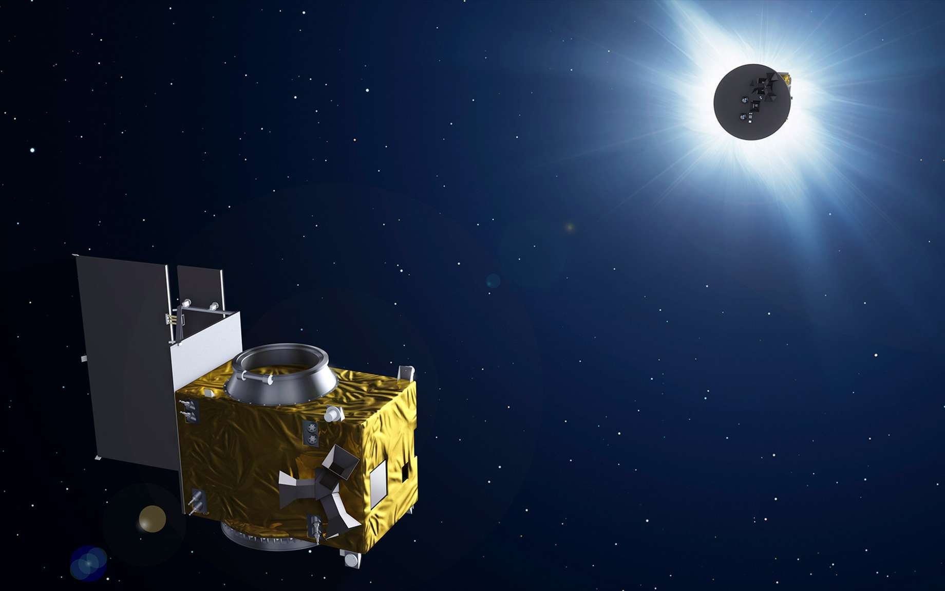 Proba-3 est surtout une mission de démonstration de la technologie du vol en formation avant d'être un coronographe dédié à l'étude de la couronne du Soleil. © ESA, P. Carril