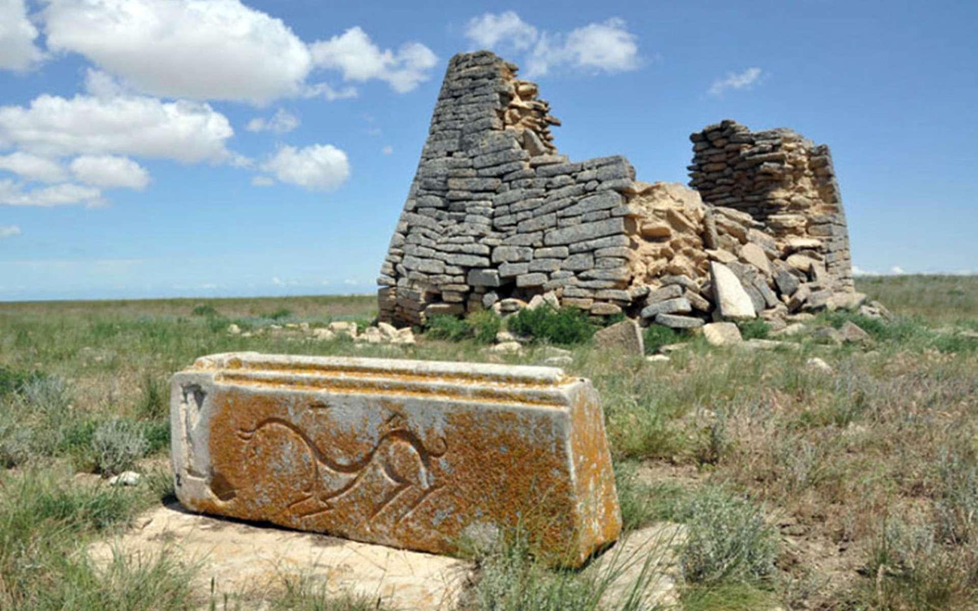 Vue de l'une des structures en pierre. Au premier plan, une pierre avec une créature sculptée. © Evgeniï Bogdanov