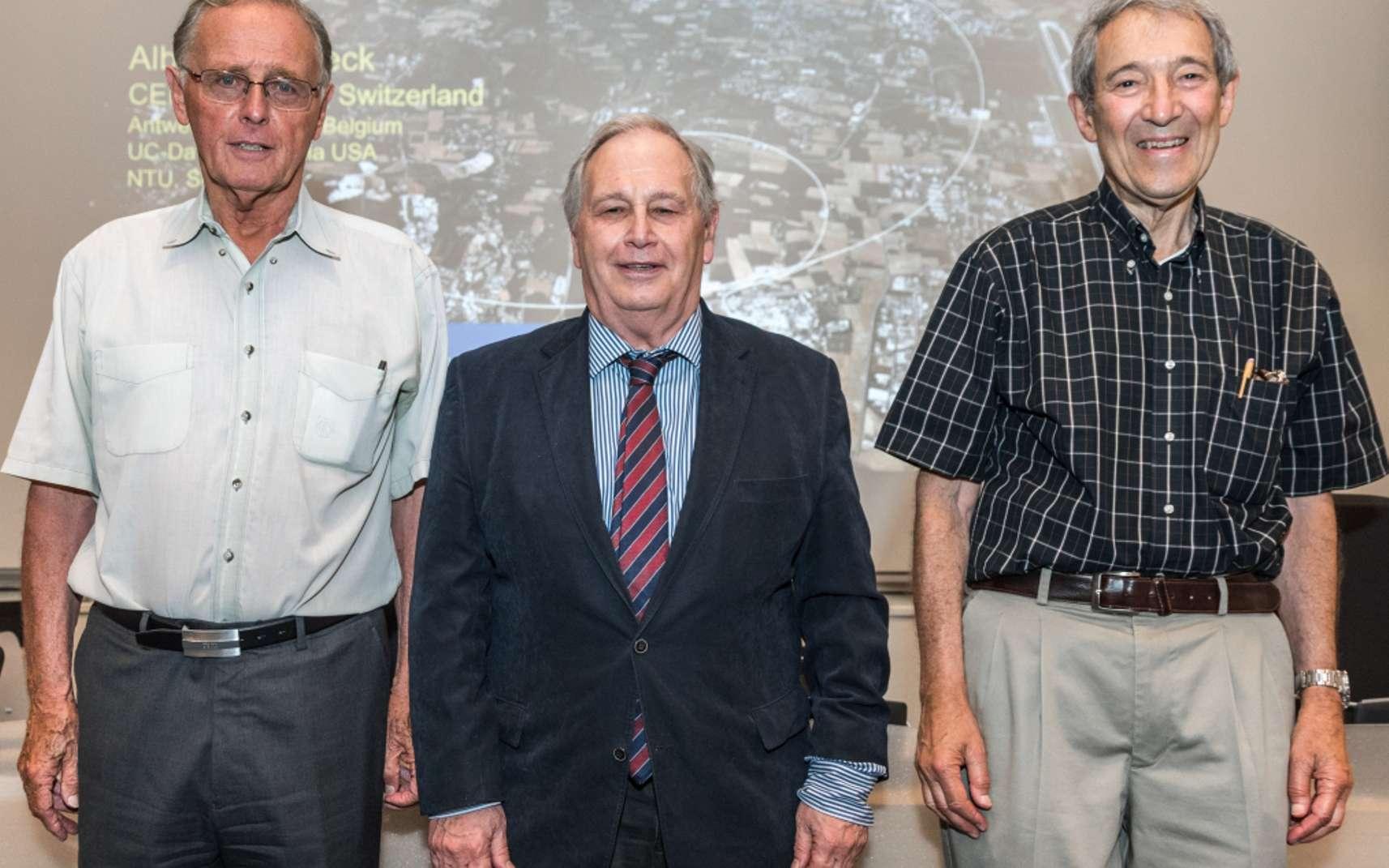 Peter van Nieuwenhuizen, Sergio Ferrara et Daniel Z. Freedman (de gauche à droite), photographiés au Cern en 2016 à l'occasion du 40e anniversaire de supergravity. © S Bennett, CERN