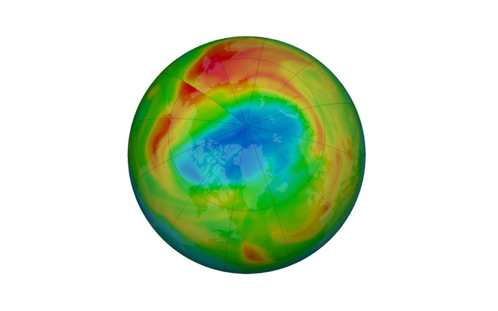 Les observations de cet hiver ont montré une diminution significative du contenu en ozone de la stratosphère durant plusieurs semaines, sur une large zone autour du Pôle Nord. Mais le trou s'est refermé à la fin du mois d'avril. © Nasa Ozone watch