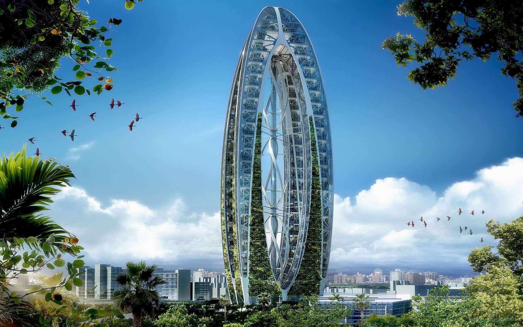 À Taiwan, au milieu de la grande ville de Taichung, une double tour abrite une grande bulle de nature avec des arbres et des jardins. © Vincent Callebaut