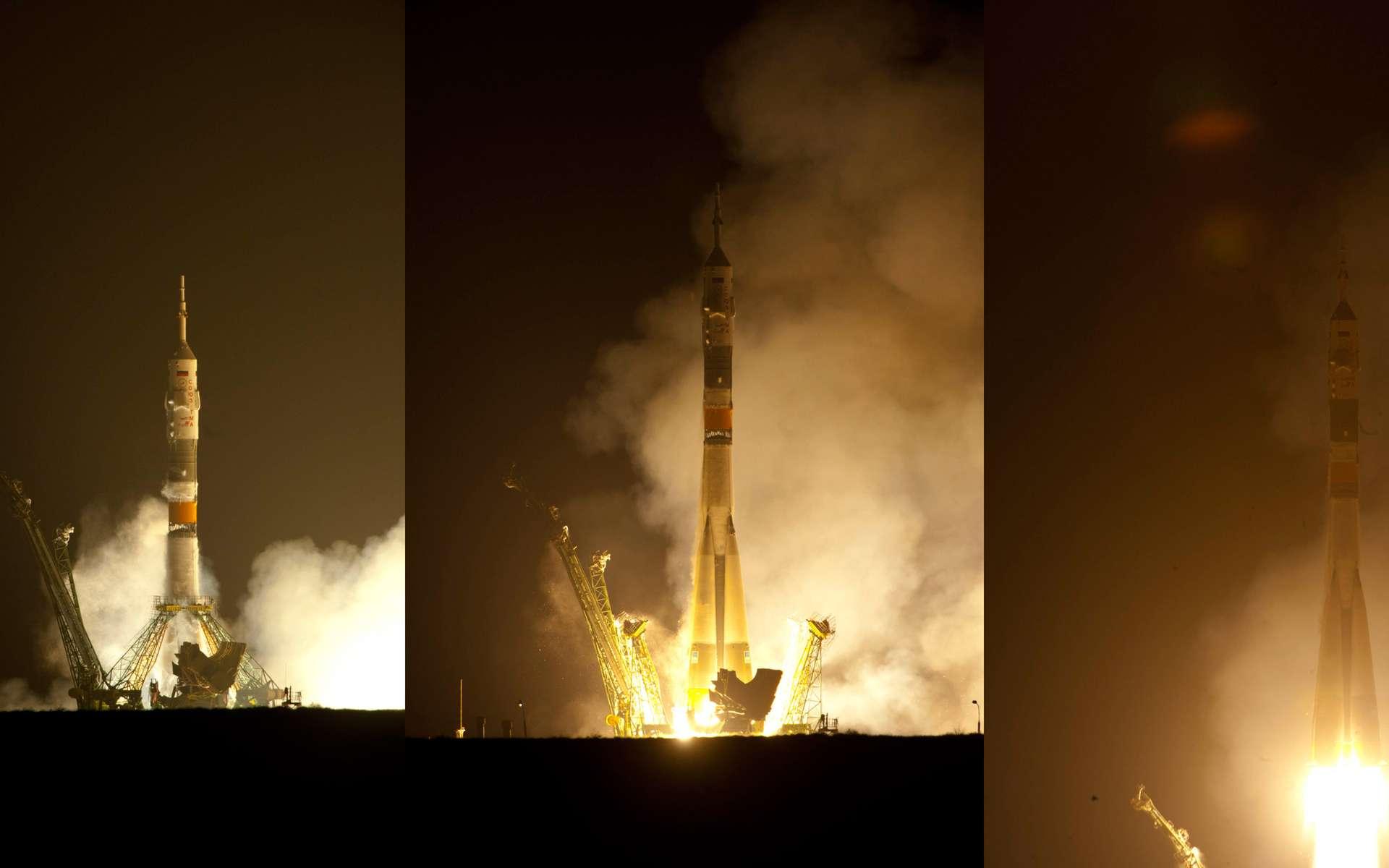 Paolo Nespoli est en route vers la Station en compagnie de Dimitri Kondratiev et Catherine Coleman. Trente-cinq orbites autour de la Terre et trois poussées seront nécessaires avant que la capsule Soyuz s'amarre à la Station, le 17 décembre. © Esa/S. Corvaja