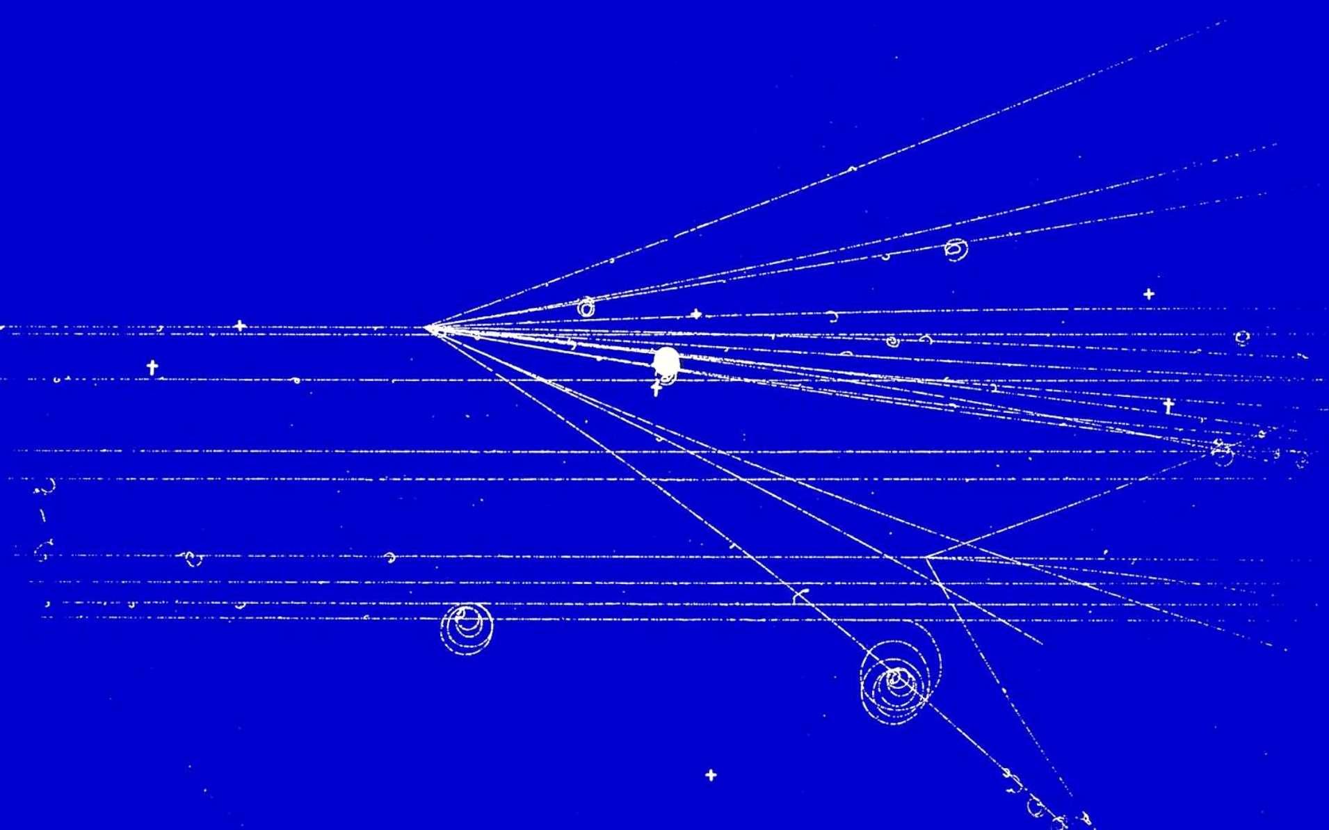 Des trajectoires de particules dans un chambre à bulles au Cern. © Cern