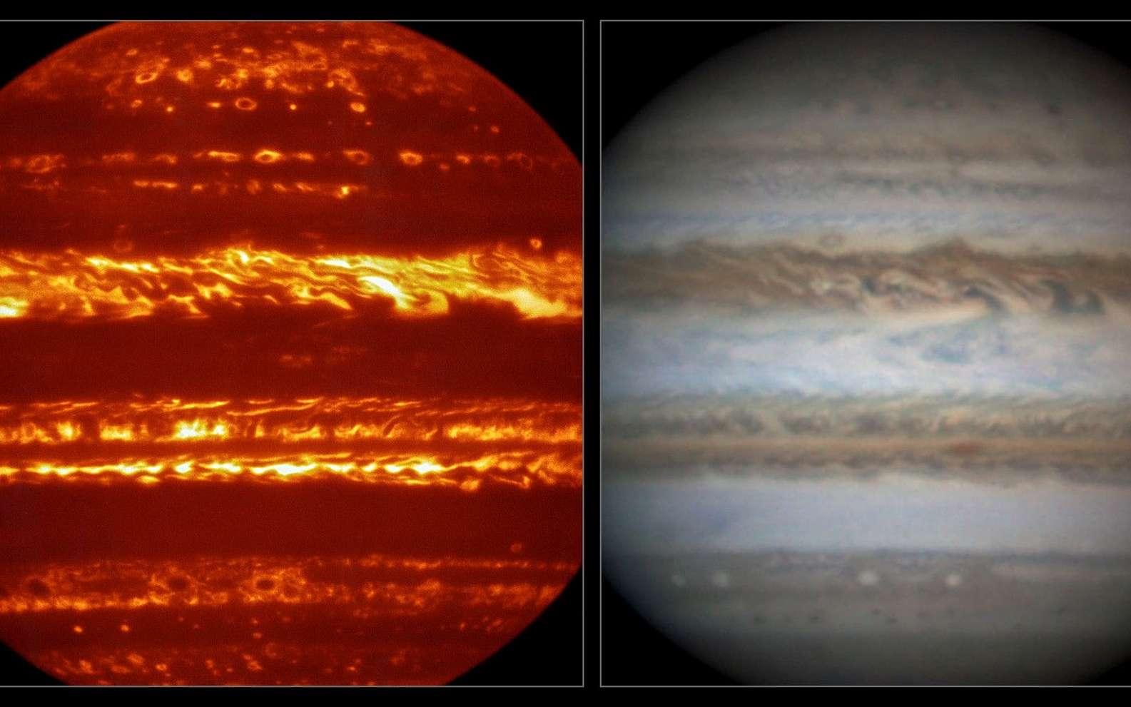 La sonde Juno, de la Nasa, arrive en orbite autour de Jupiter pour une longue mission. C'est l'occasion de photographier ou au moins d'observer la géante, comme l'ont fait le VLT, dans l'infrarouge, avec l'instrument Visir (à gauche), et l'astronome amateur Damian Peach, dans le visible (à droite). © Eso, L. N. Fletcher, Damian Peach