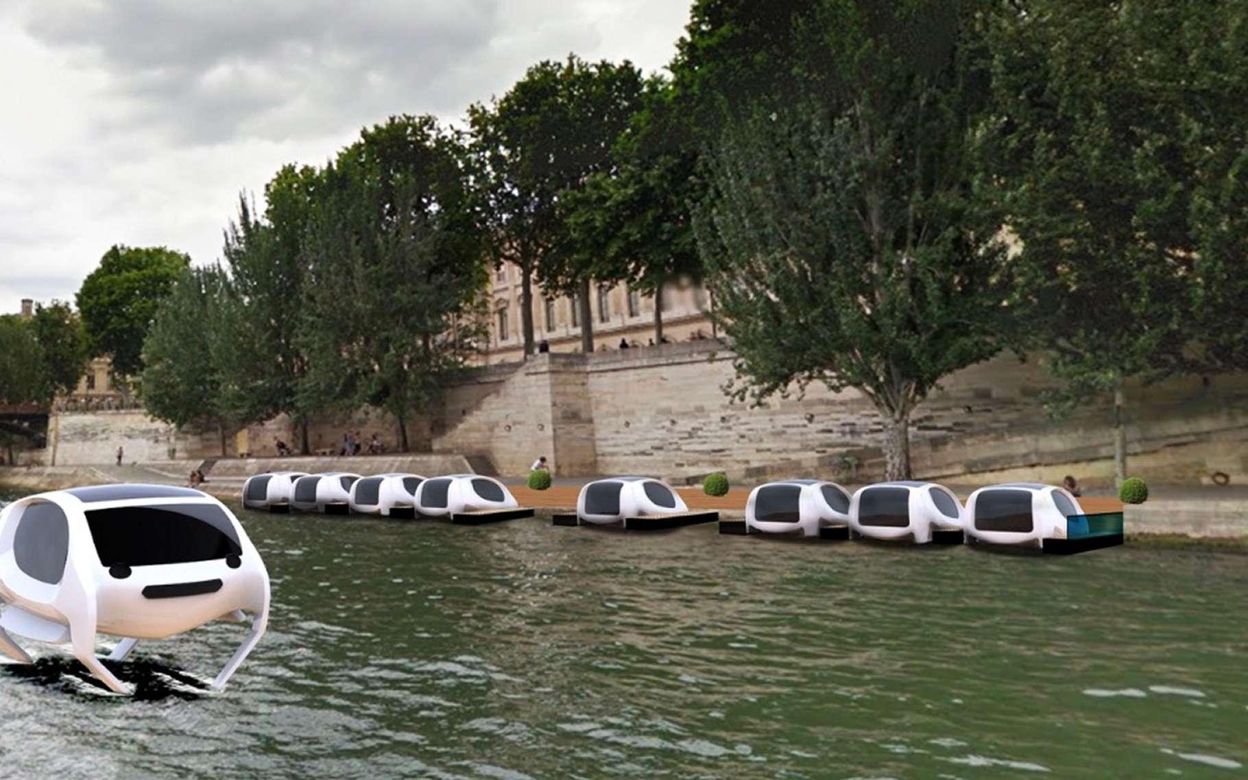 Les bateaux électriques Sea Bubbles pourraient un jour permettre de se déplacer sur la Seine, mais aussi la Tamise ou le lac Léman. Serait-ce un moyen de transport pour de futures mégalopoles ? © Sea Bubbles