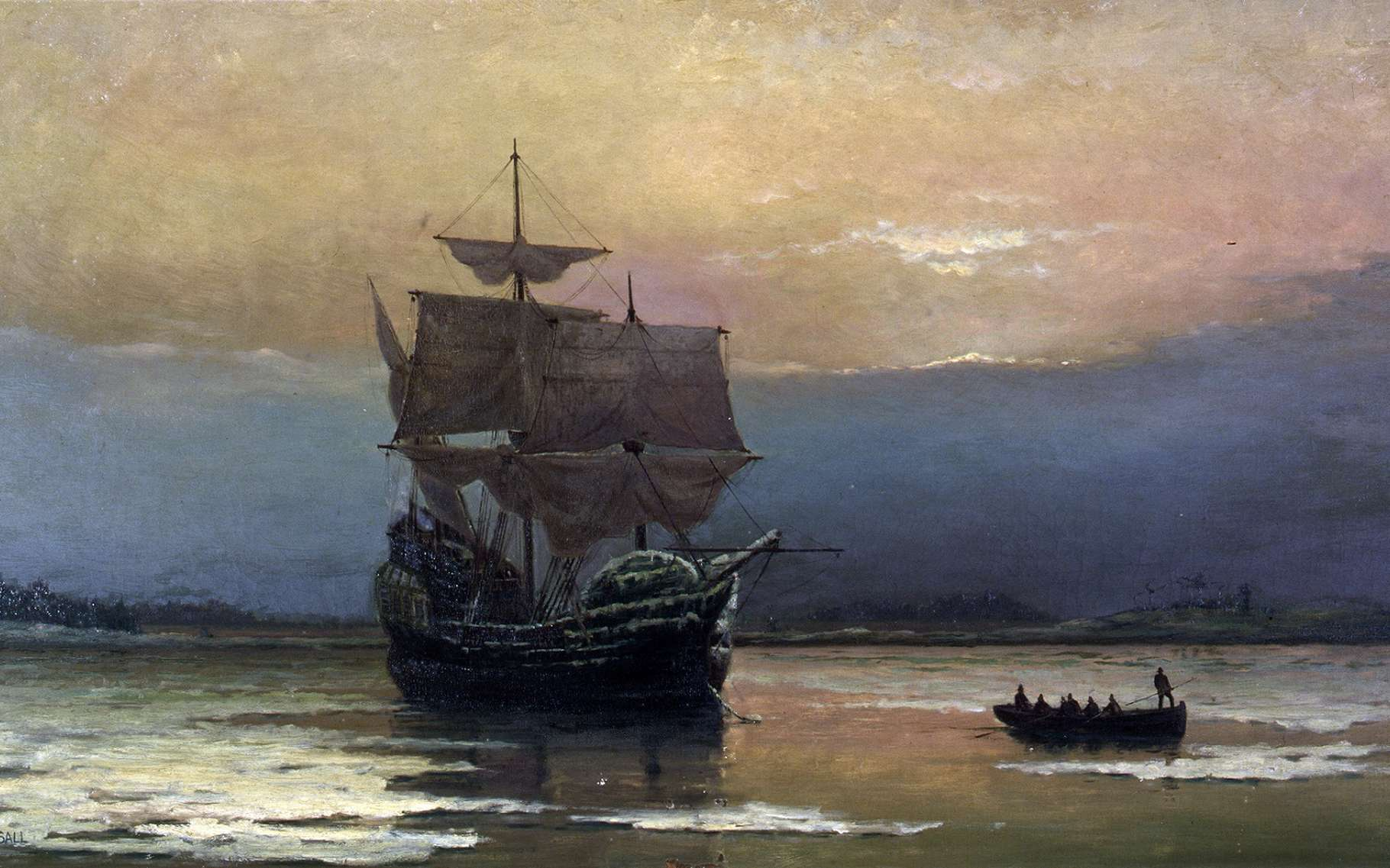 Le navire Mayflower arrivant dans la baie de Plymouth en 1620. Des colons débarquent dans une chaloupe. Tableau peint par William Halsall en 1882, Pilgrim Hall Museum, Plymouth, Massachusetts, États-Unis. © Wikimedia Commons, domaine public.