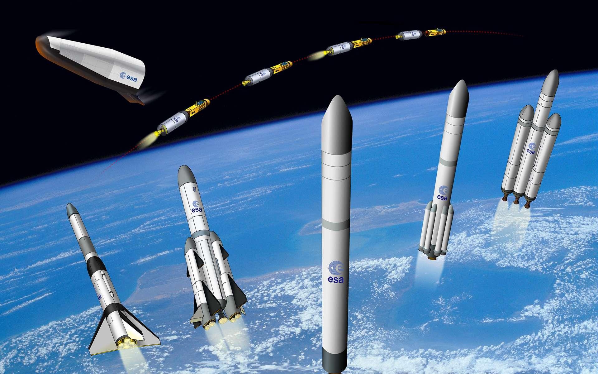 Quelques vues d'artistes de lanceurs réutilisables, envisagés par l'Agence spatiale européenne. © ESA