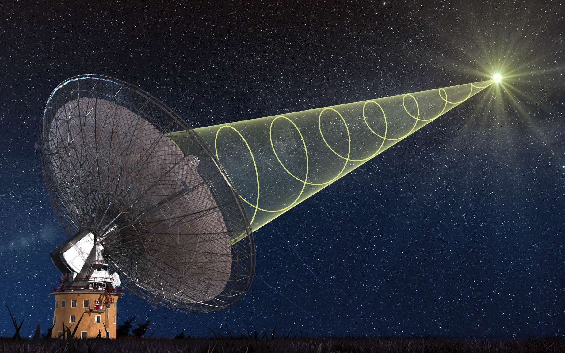 Le radiotélescope de Parkes, en Australie, a pu observer un sursaut radio rapide. Le signal radio est polarisé circulairement. Cela signifie que le champ électrique des ondes émises tourne autour de la direction de propagation de l'onde. © Swinburne Astronomy Productions
