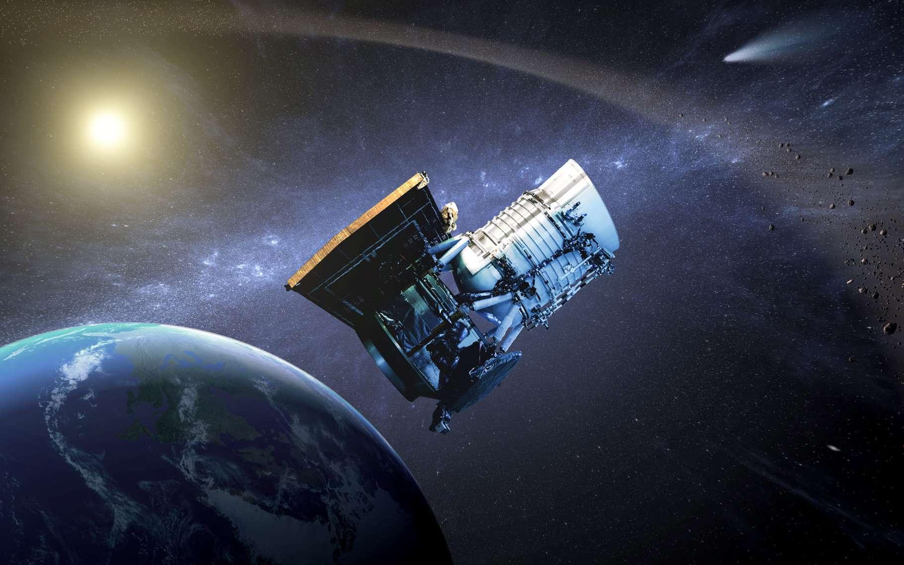 Wise (Wide-field infrared survey explorer, en français « Explorateur à grand champ pour l'étude dans l'infrarouge ») est un télescope spatial américain dont la mission consiste à réaliser une cartographie complète des sources infrarouges afin de repérer en particulier les astéroïdes comme les géocroiseurs, les étoiles peu visibles proches du Soleil et les étoiles de notre Galaxie masquées en lumière visible derrière des nuages interstellaires comme c'est le cas avec certains amas ouverts d'étoiles. © Nasa, JPL-Caltech