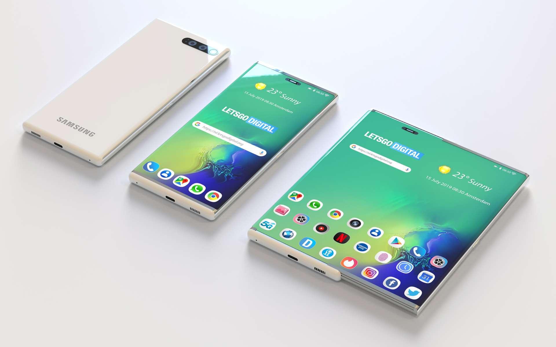 Samsung a également le projet de lancer un smartphone donc l'écran coulisse pour étendre sa surface d'affichage. © LetsGo Digital