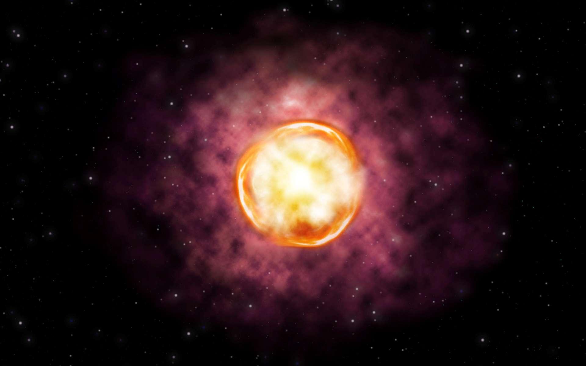 Vue d'artiste de la supernova instabilité de paire SN 2016iet. © Gemini Observatory/NSF/AURA/Joy Pollard