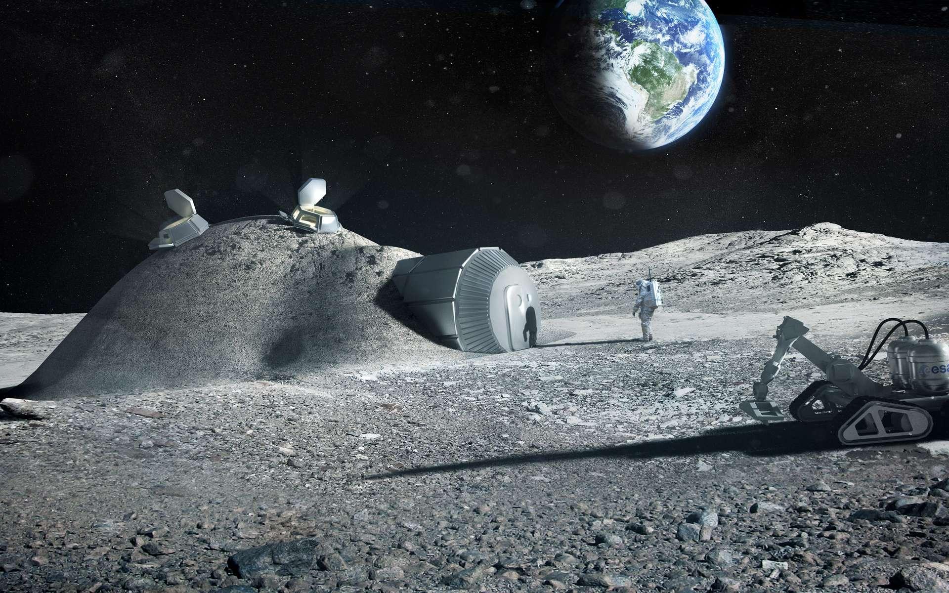 Projet de base lunaire conçue par impression 3D à partir des matériaux présents à la surface de la Lune. © ESA, Foster + Partners