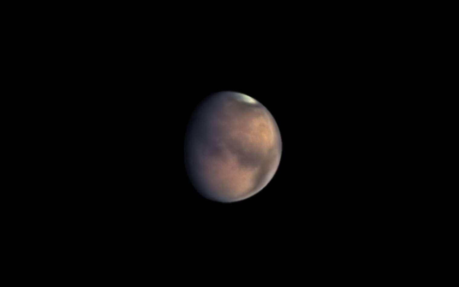 Mars photographiée avec le télescope d'un astronome amateur, le 23 juillet 2020. © Luc Debeck, Apod (Nasa)